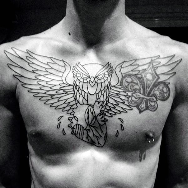 Guys Outline Owl And Heart Tattoo On Chest