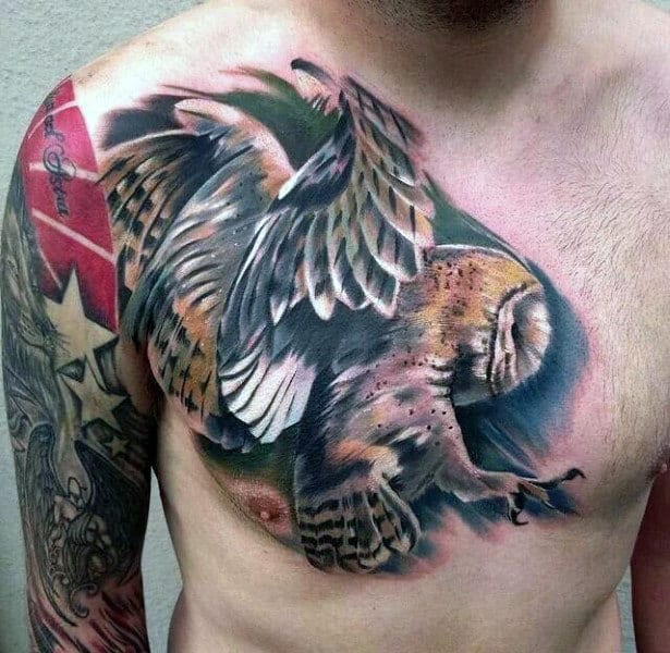 Guys Owl Realistic Chest Tattoo Designs