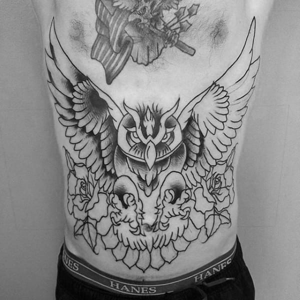 Guys Owl Rose Flowers Stomach Traditional Tattoos