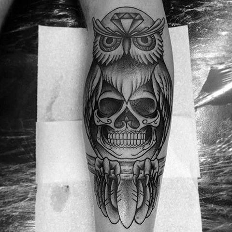 Guys Owl Skull Leg Tattoo Design Ideas