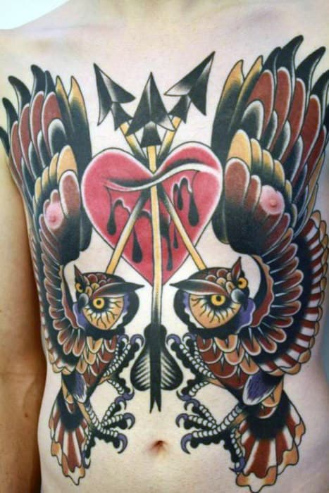 Guys Owls With Heart And Arrows Traditional Tattoo On Chest