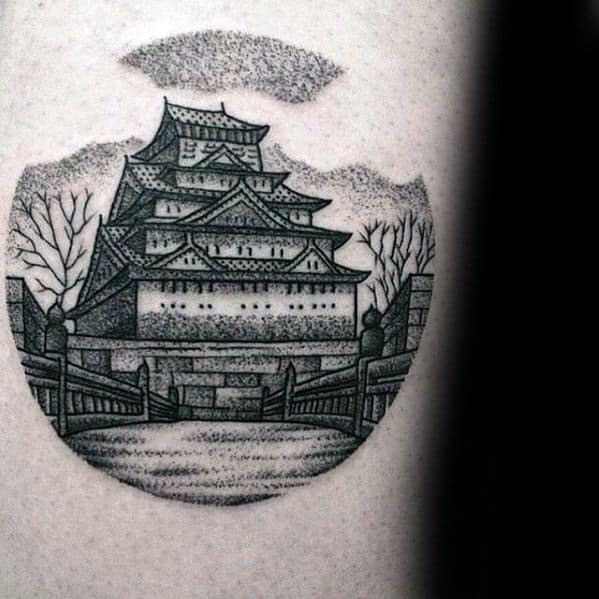 Guys Pagoda Tattoo Design Idea Inspiration