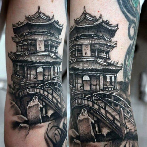 Guys Pagoda Tattoo Designs