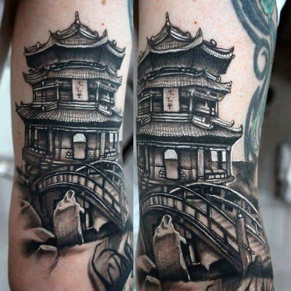 Guys Pagoda Tattoo Designs