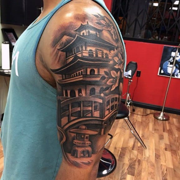 60 Pagoda Tattoo Designs For Men - Tiered Tower Ink Ideas