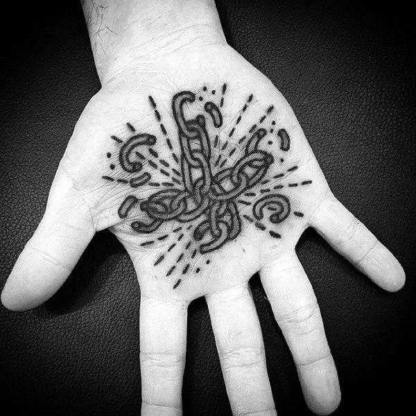 Guys Palm Broken Metallic Links Tattoo