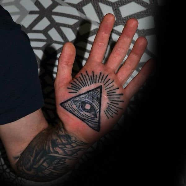 Guys Palm Eye In Triangle Tattoo