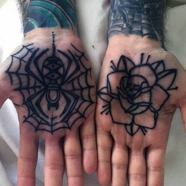 Guys Palm Spider In Web Skulled Rose Tattoo