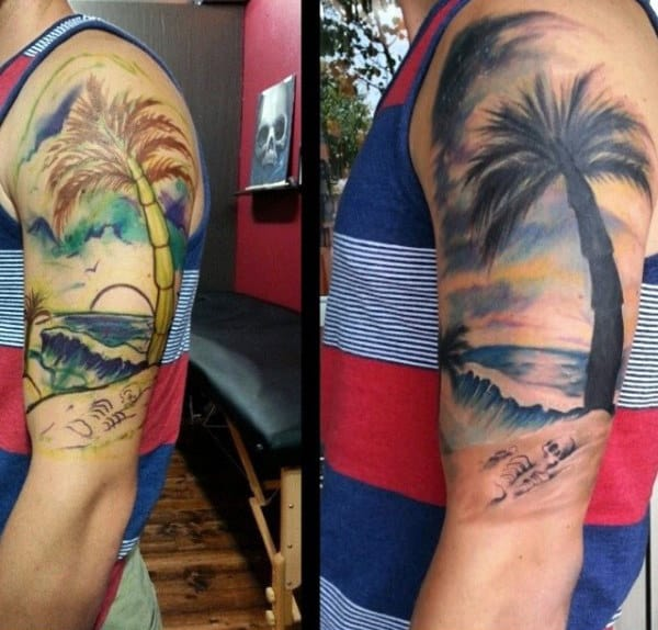Guys Palm Tree Tattoo On Arms