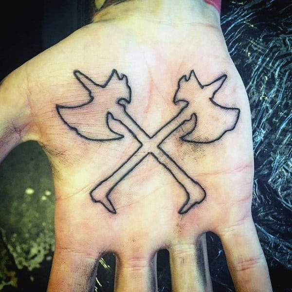 Guys Palms Cross Axes Tattoo