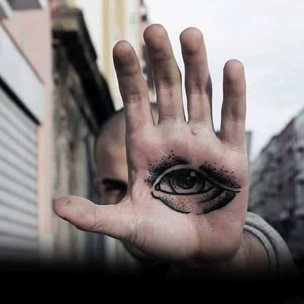 Guys Palms Eye Tattoo