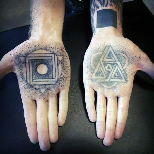 Guys Palms Religious Tattoo