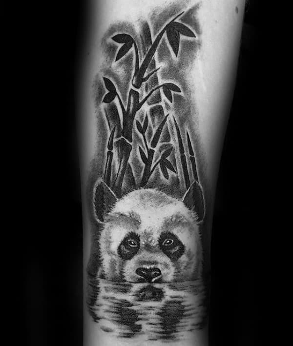 Guys Panda In Water With Bamboo Forearm Tattoos