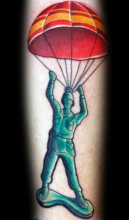 Guys Parachute Plastic Toy Green Solider Forearm Tattoo Designs