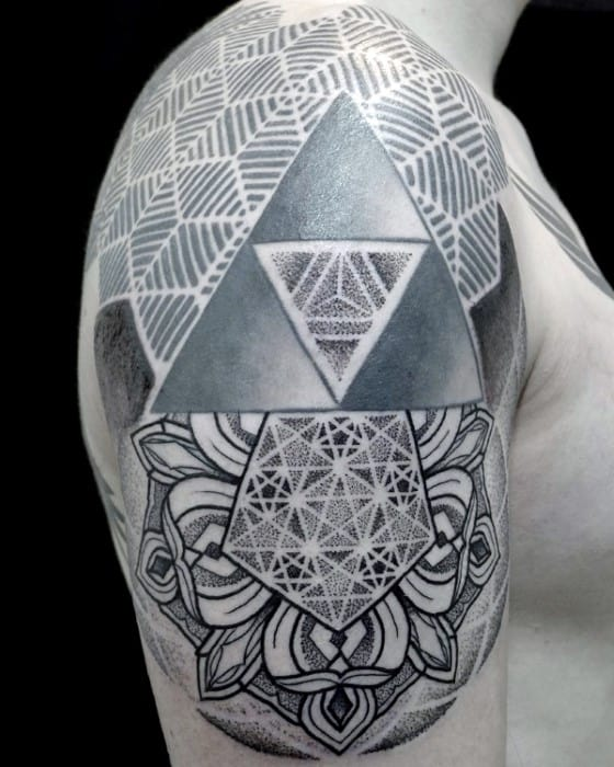 Guys Pattern Geometric Rose Half Sleeve Tattoo