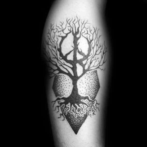 Guys Peace Sign Tattoo Tree Leg