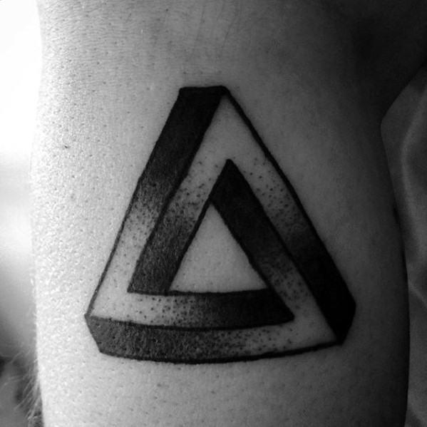 Guys Penrose Triangle Arm Tattoo Deisgns