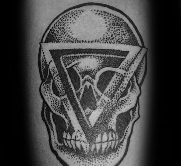 Guys Penrose Triangle Skull Forearm Tattoo