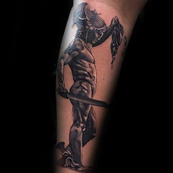 Guys Perseus Tattoo Designs On Outer Forearm