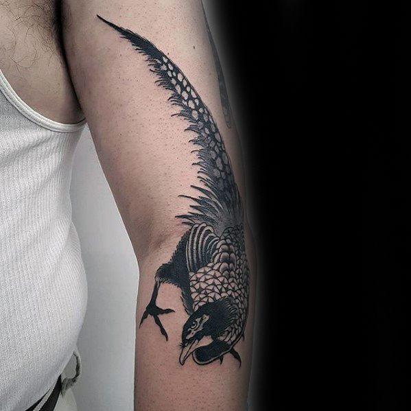 Guys Pheasant Tattoo Deisgns Outer Arm
