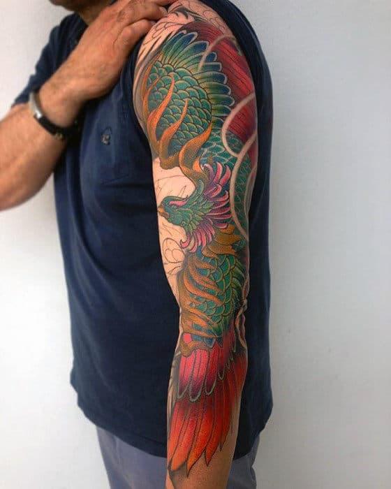 Guys Phoenix Japanese Full Arm Tattoos