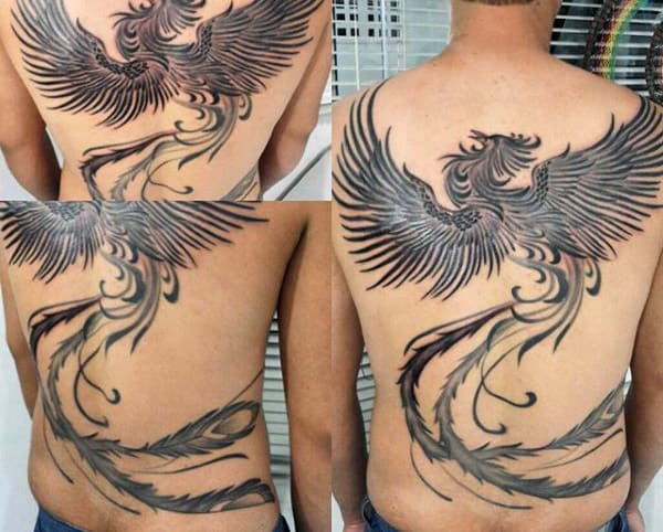 Guy's Phoenix Tattoo Flying On Back