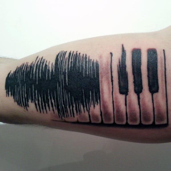 Guys Piano Soundwave Bicep Tattoo Design