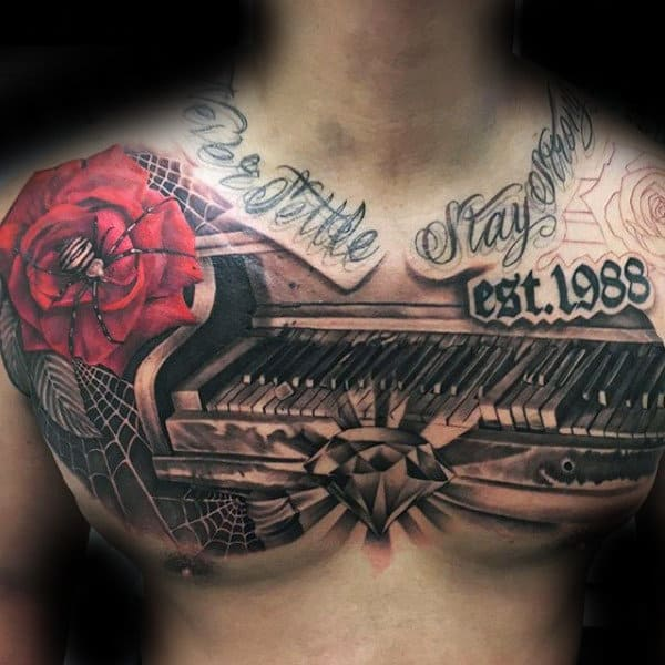 Guys Piano Upper Chest Tattoo With Shaded Design