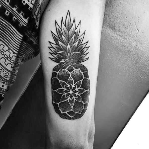 Guys Pinapple Geometric Back Of Arm Tattoo