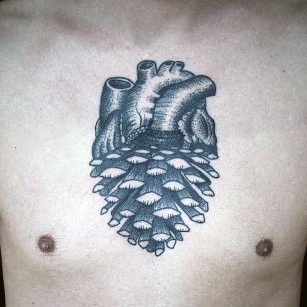 Guys Pine Cone Heart Chest Tattoo