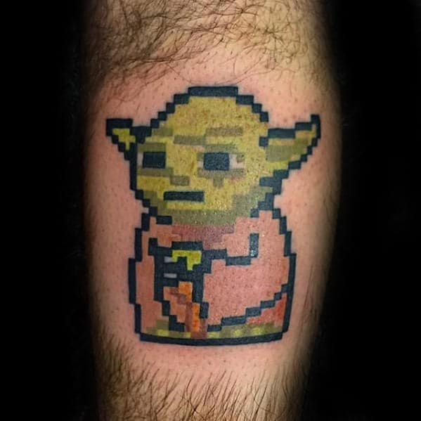 Guys Pixalated Yoda Leg Calf Tattoo