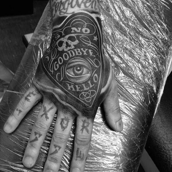 Guys Planchette Hand Tattoo Design Ideas