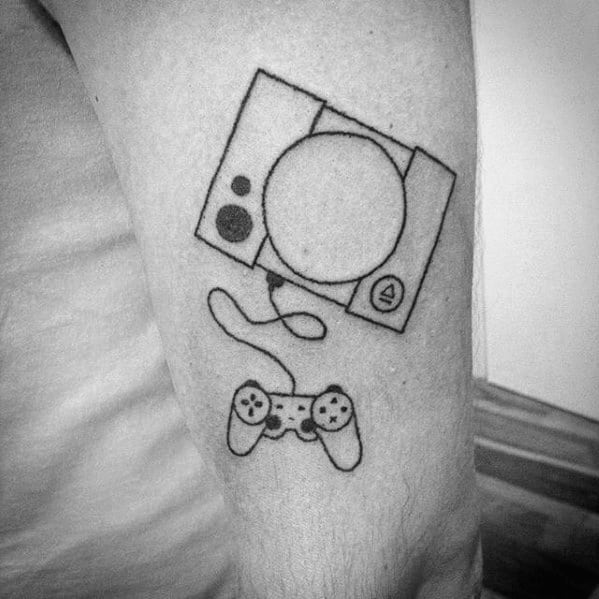 Guys Playstation Video Game Console Arm Tattoos