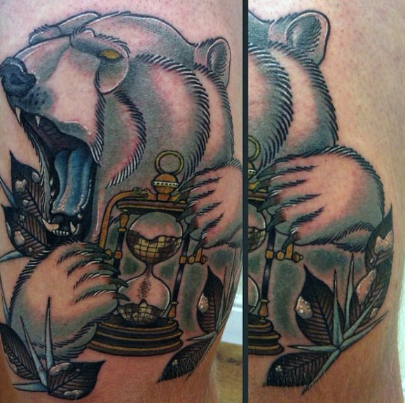Guys Polar Bear Hourglass Arm Tattoo Designs