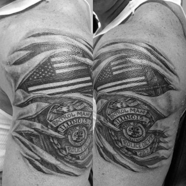 Guys Police Torn Skin American Flag Patch And Badge Tattoo On Arm