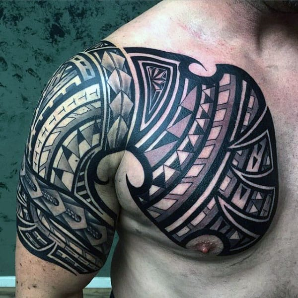 Guys Polynesian Chest Tribal Arm Sleeve Tattoos