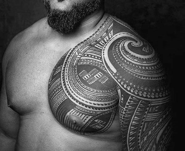 Guys Polynesian Tribal Tattoo On Chest