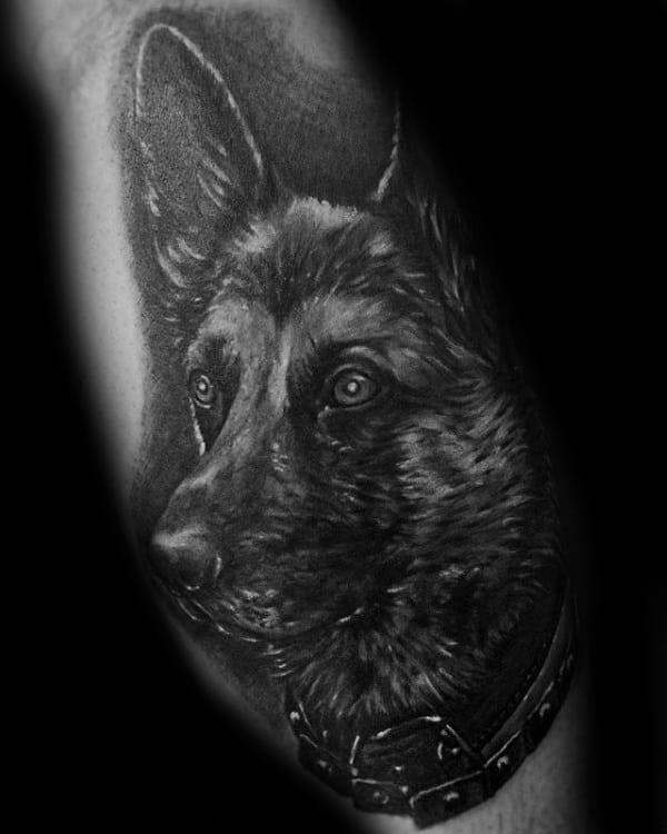 Guys Portrait Dark Shaded Black And Grey Ink German Shepherd Dog Tattoo