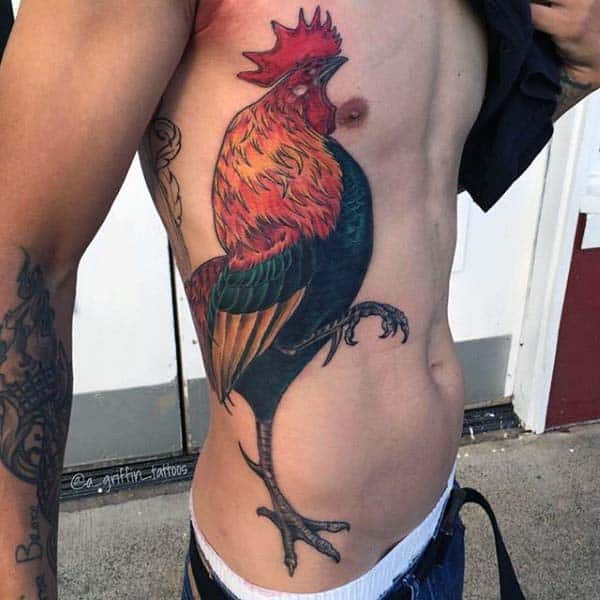 Guys Proud Rooster Tattoo On Side