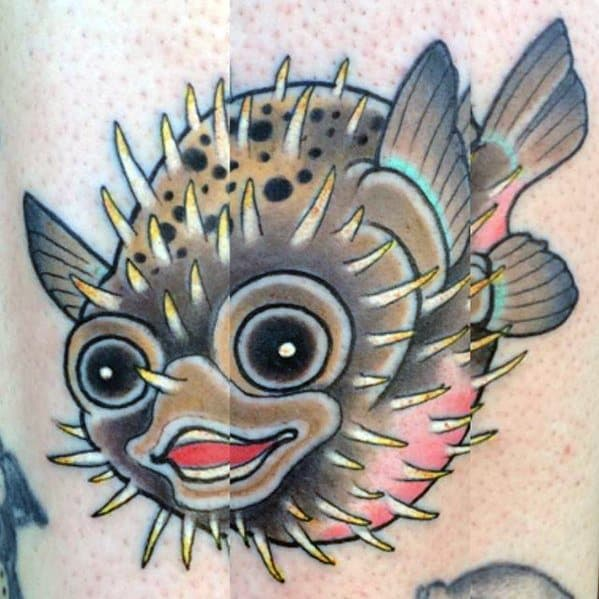 Guys Puffer Fish Tattoos