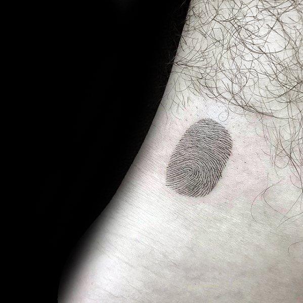 Guys Quarter Sized Detailed Fingerprint Ankle Tattoo