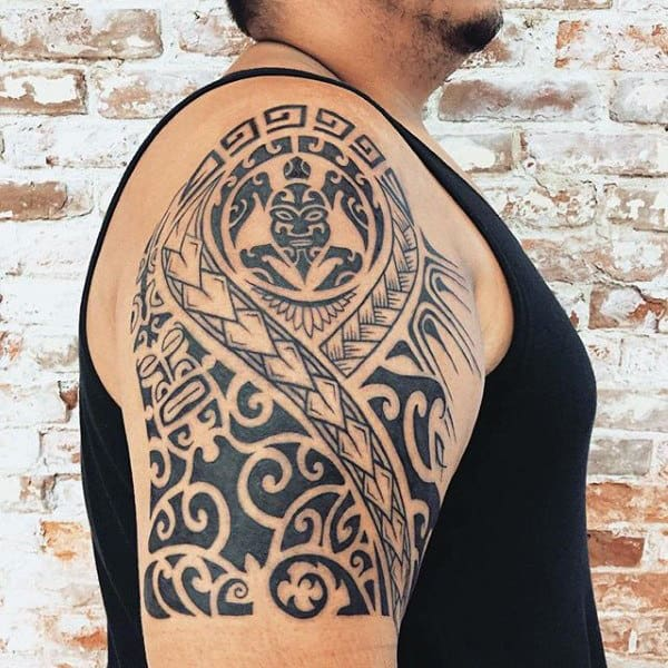 Guys Quarter Sleeve Hawaiian Tribal Turtle Tattoo Design