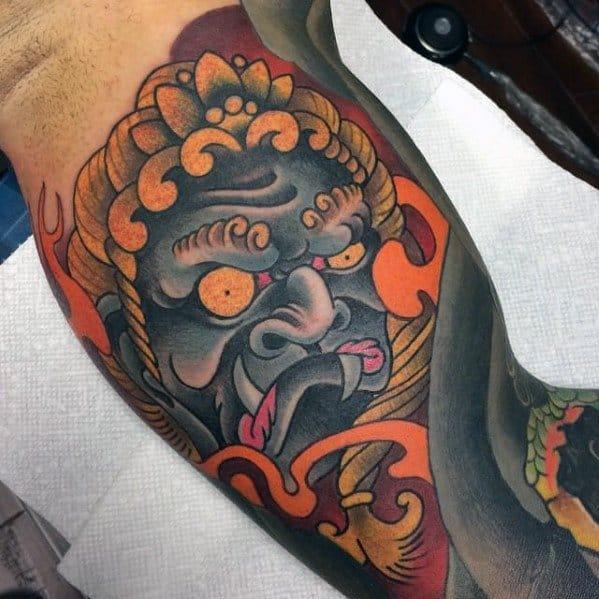 Guys Quarter Sleeve Tattoos With Fudo Myoo Design