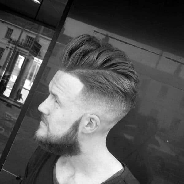Guys Quiff Skin Fade Haircut Medium Length