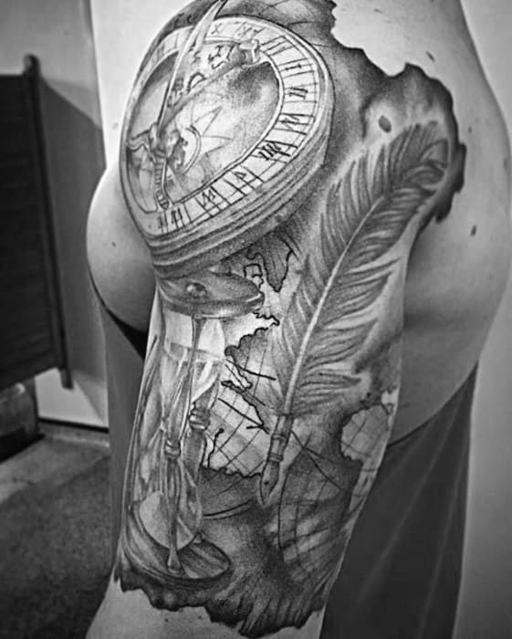 Guys Quill Tattoos Half Sleeve With Map And Sundial Design