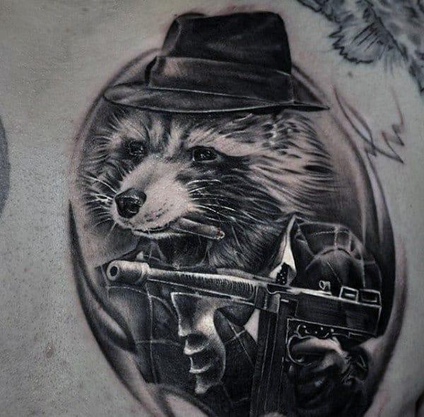 Guys Raccoon Gangster Upper Chest Tattoo Designs