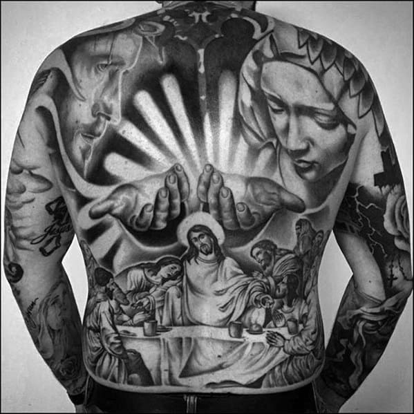 Guys Rad Full Back Shaded Black And Grey Religious Jesus Themed Tattoo Design Ideas