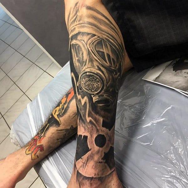 Guys Radioactive Leg Sleeve Gas Mask Tattoos
