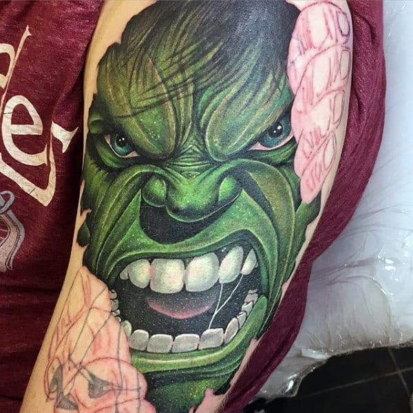 100 incredible hulk tattoos for men gallant green design ideas. Black Bedroom Furniture Sets. Home Design Ideas
