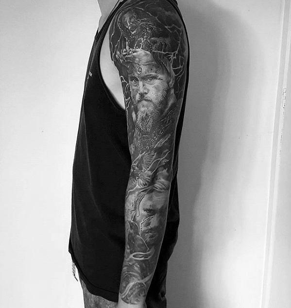 Guys Ragnar Tattoos Full Arm Black And Grey Sleeve